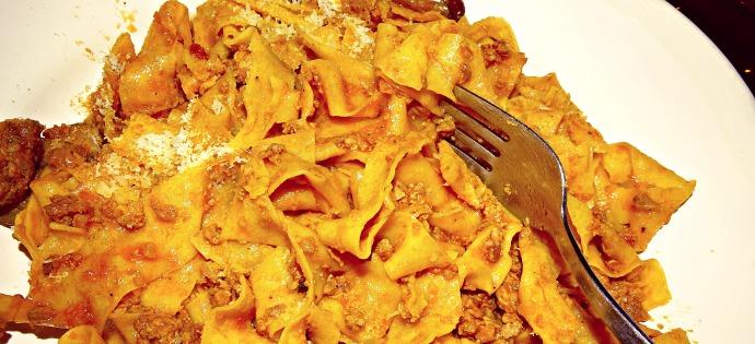 Tagliatelle Ragu Pasta Dish in Bologna Trattoria